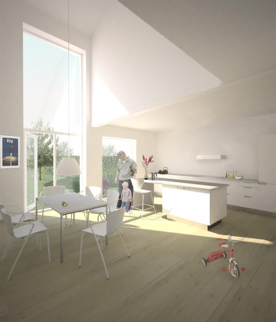 Interiør rækkehus mod køkken_fra projektforslag