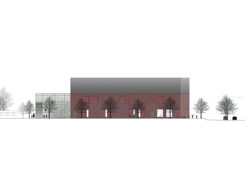 Sydfacade idrætsbygning