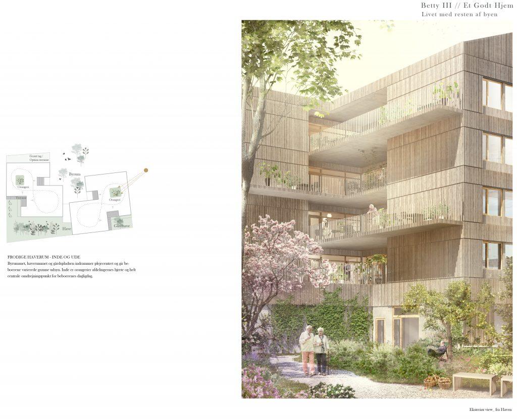 Udsnit af træbeklædt facade parti_fællesareal boligetage