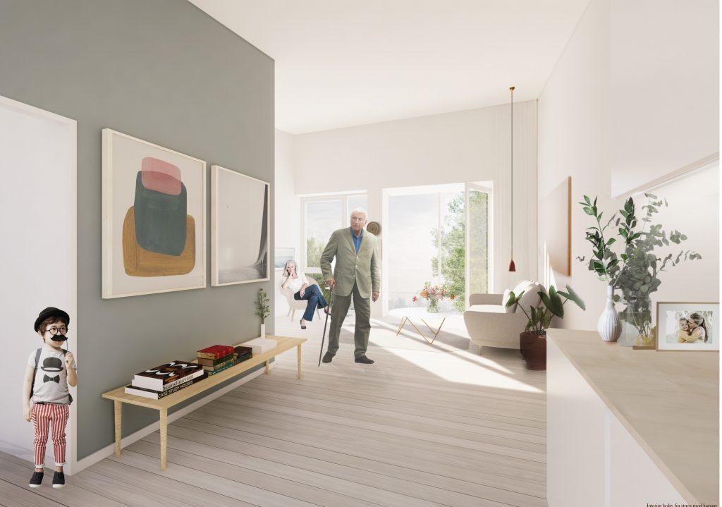 Interieur fra bolig med karnap