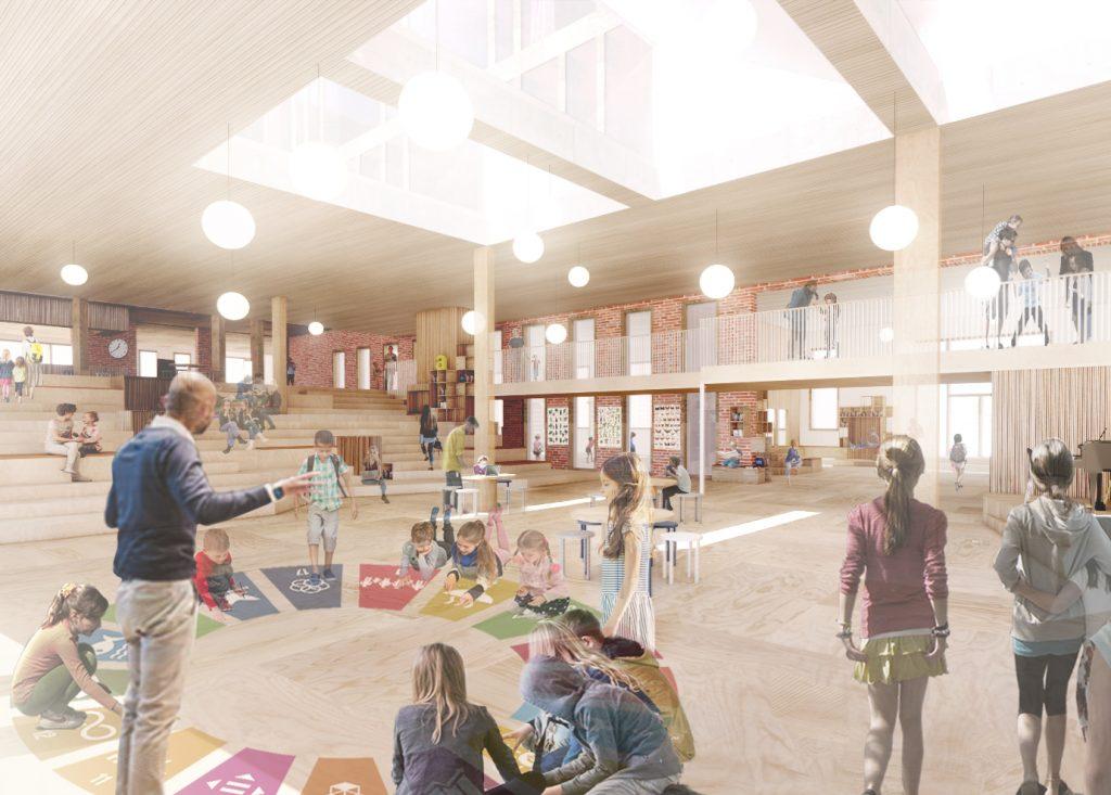 Multirummet samler skolen i et dobbelthøjt centralt placeret rum