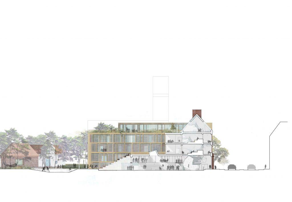 Principsnit - den nye bygning skaber sammenhængen mellem skalatrin