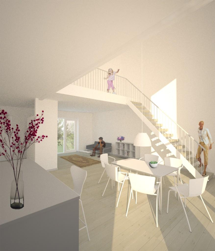 Interiør rækkehus mod trappe_fra projektforslag