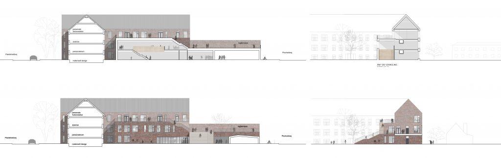 Facader/ snit af ny udskolingsbygning