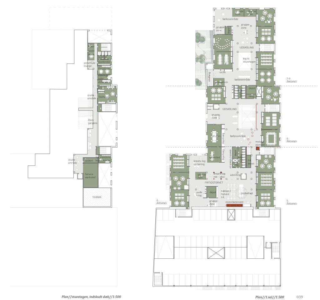 1.sals plan og indskudt etage
