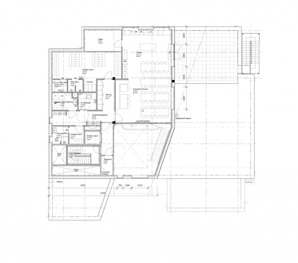 Plan af 2 sal/ Kantine, omklædning + tagterrasse