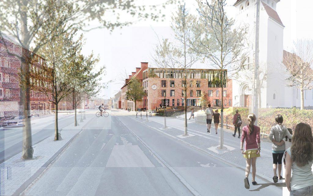 Søborg Skole åbner sig mod Hovedgadens andet pejlemærke, Kirken