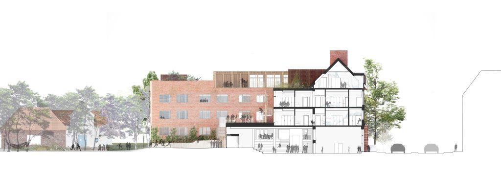 Principsnit gennem bygning B_ny facade bygning A_ Dispositionsforslag