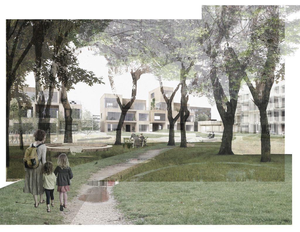 Kig til ny bebyggelse fra Kilen og de grønne gårde