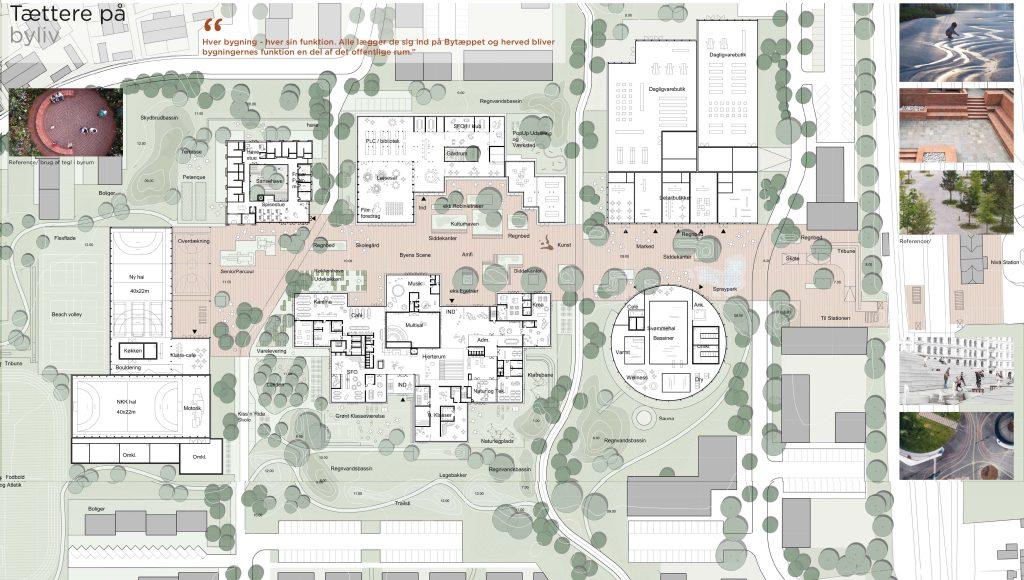 Situationsplan med stueplan, byrum og landskab